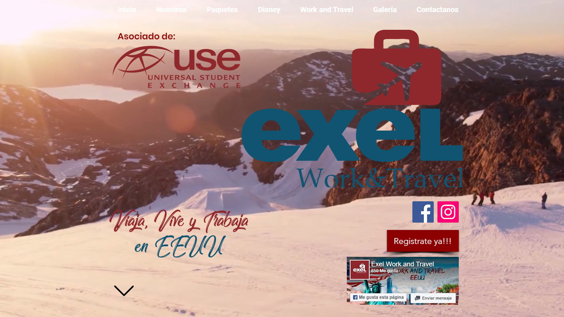 Página Web Exel Work and Travel